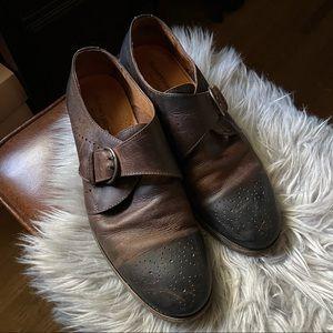 Robert Wayne Monk Strap Brown Leather Shoes 10.5